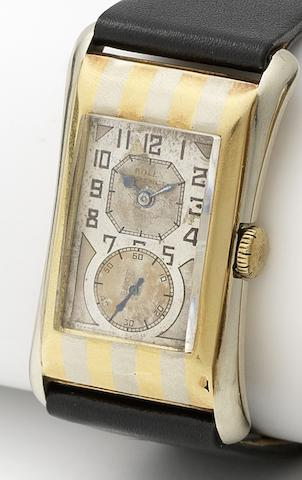 Rolex. A fine and rare 18ct two colour gold manual wind wristwatch Prince, Numbered 65374/971, Circa 1930
