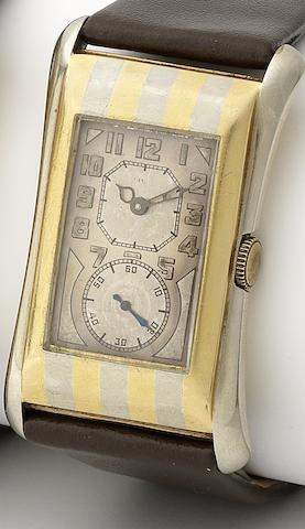 Rolex. A rare 18ct two colour gold manual wind wristwatch Prince, 'Tiger stripe', Ref:971, Case No.65378, Circa 1930