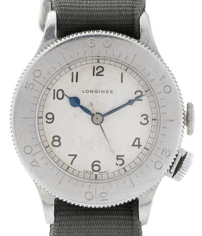 Longines. A stainless steel manual wind military issue wristwatch Weems, Case No.20828/1660, Movement No.5941213, Issued 1940