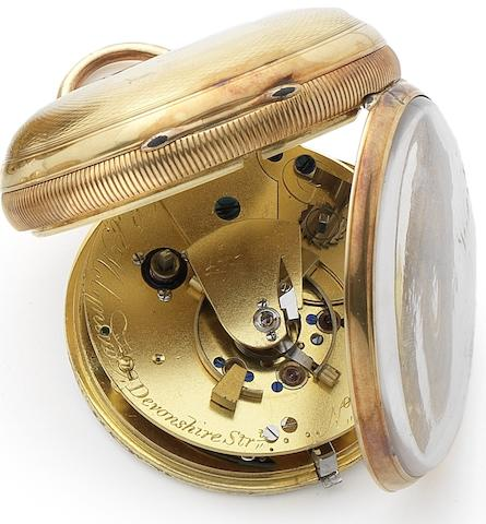 Robert Molynaux. A fine early 19th century 18ct gold key wind pocket chronometerNo.730, London Hallmark for 1836