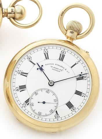Nicole Nielson & Co. A fine 18ct gold open face keyless wind pocket watch Case and movement numbered 5469, London Hallmark for 1903