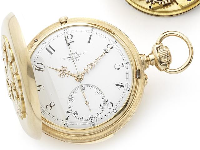 Dent. A very fine 18ct gold quarter repeating keyless wind chronograph full hunter pocket watch Numbered 31744, London Hallmark for 1878