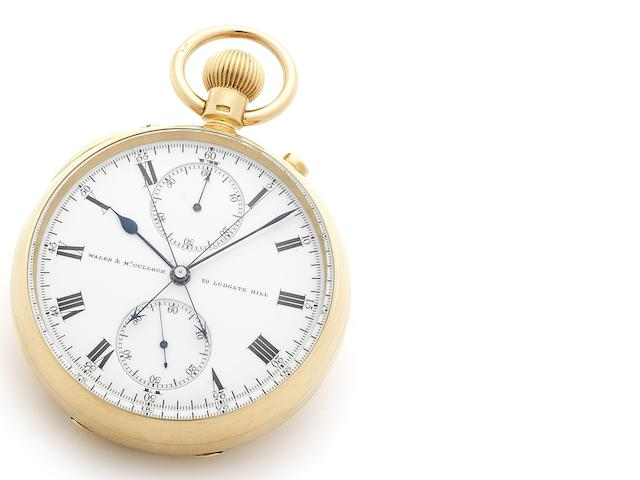 Wales and McCulloch. A very fine and rare 18ct gold open face keyless wind split seconds pocket watch with Karrusel escapement, certified at the Kew Observatory Numbered 3483, London Hallmark for 1897