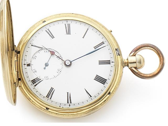 J. Hammond & Co. An 18ct gold keyless wind full hunter pocket watch Case No.2845, London Hallmark for 1856