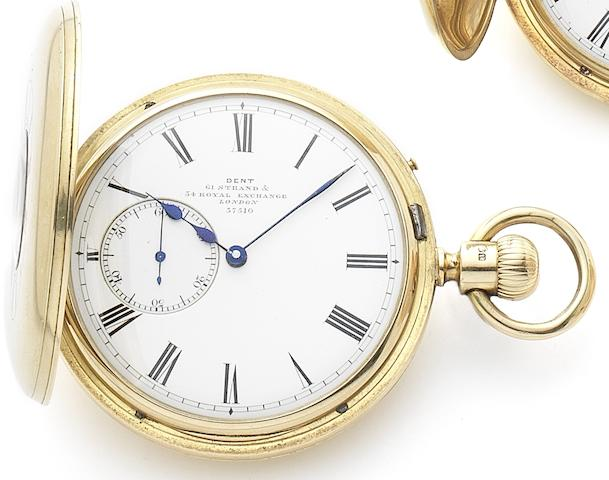 Dent. An 18ct gold keyless wind half hunter pocket watchPatent, Case and dial numbered 37510, London Hallmark for 1874