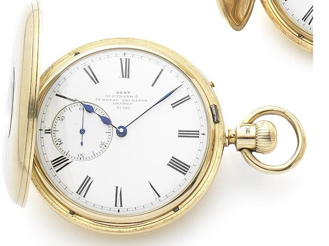 Dent. An 18ct gold keyless wind half hunter pocket watch Patent, Case and dial numbered 37510, London Hallmark for 1874