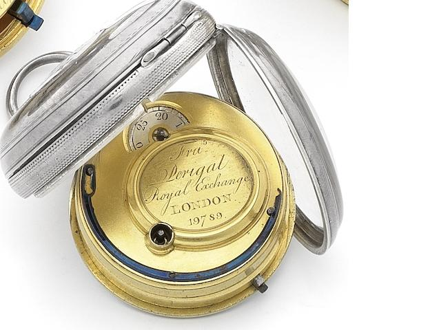 Francis Perrigal. A silver key wind open face pocket watch with later case Numbered 19789, London Hallmark for 1849