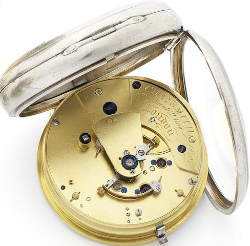 Chas Smith. An early 19th century silver open face free sprung pocket chronometer  Numbered 18797, London Hallmark for 1818