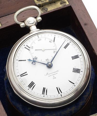Barraud. A fine silver pair case pocket chronometer watch together with fitted mahogany boxNumbered 2/591, London Hallmark for 1827