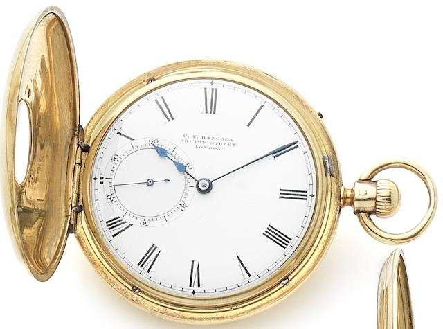 C.F. Hancock, Bruton Street, London. An 18ct gold keyless wind half hunter pocket watch Circa 1850