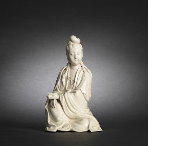 A Dehua figure of Guanyin He Chaozong mark