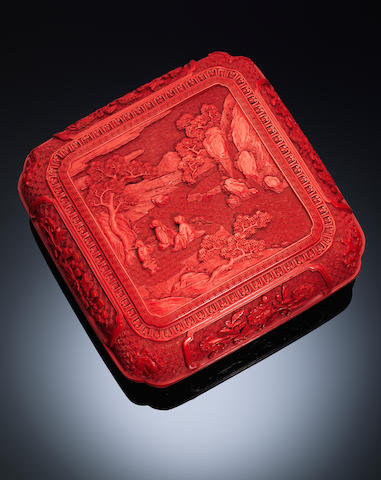 A cinnabar lacquer 'figures in landscape' box and cover Qianlong