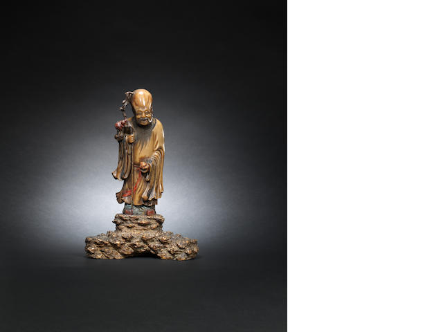 A soapstone figure of Shoulao Mid Qing dynasty