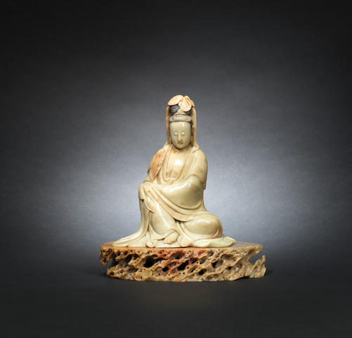 A soapstone figure of Guanyin Mid Qing dynasty