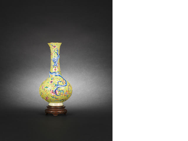 A yellow enamelled wall vase  Qianlong