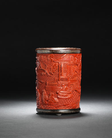 A rare cinnabar lacquer brush pot Early Qing dynasty