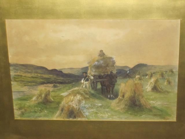 John Smart, RSA RSW RBA (British, 1838-1899) Loading a haycart, river landscape