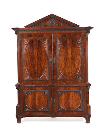 A Dutch late 18th/ early 19th century bronze-mounted mahogany armoire