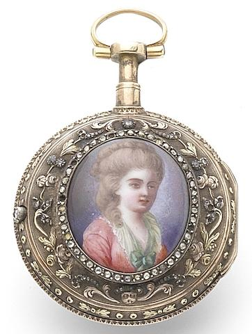 L'Epine, Paris. A fine continental 14ct gold and paste set open face pocket watch with portrait Circa 1770