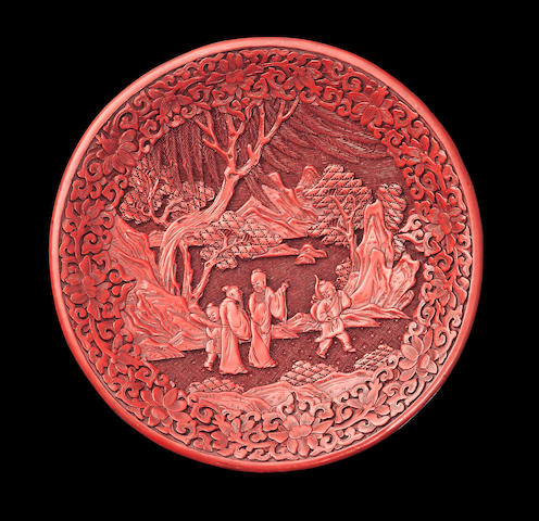 A cinnabar lacquer dish Ming dynasty