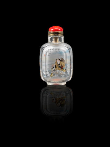 An inside-painted rock crystal 'Liu Hai and Hehe Erxian' snuff bottle Liu Shouben, dated 2010