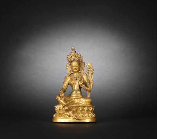 A gilt-bronze figure of Green Tara Mid Qing dynasty