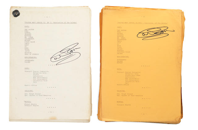 Doctor Who - Revelation Of The Daleks: Autographed scripts for Episodes I and II, 1985,