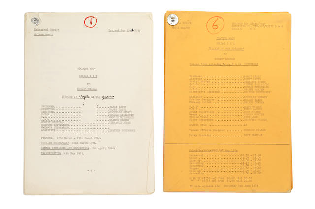 Dr. Who: The Planet Of The Spiders, a group of original scripts, March-May 1974,