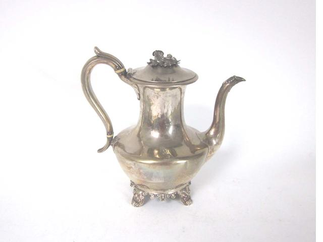 A William IV silver coffee pot by Joseph Angell & John Angell, London 1836; together with various other items  (12)