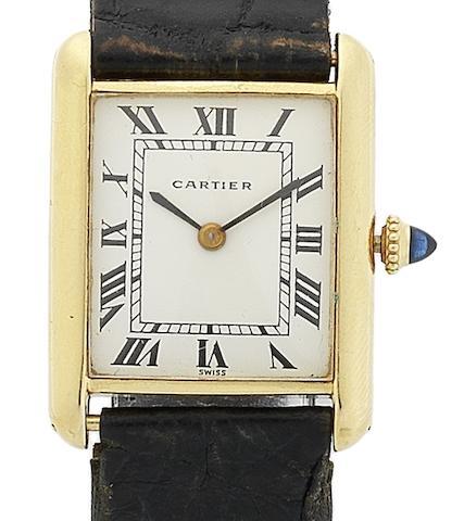 Cartier. An 18ct gold manual wind wristwatch Tank, Case No.780860352, Circa 1970