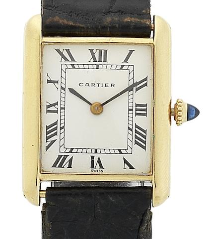 Cartier. An 18ct gold manual wind wristwatch Tank, Case No.780860352, Circa 1970