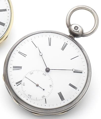 Perusset. An interesting silver open face chronometer pocket watch with pivoted spring detent escapementCirca 1810