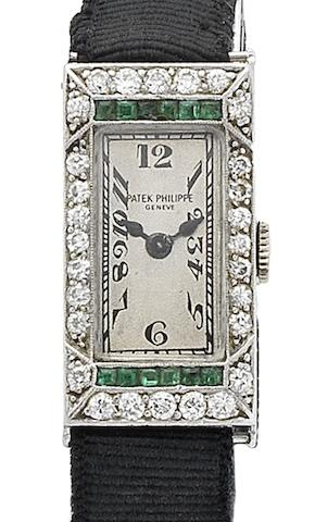 Patek Philippe. A lady's fine platinum and diamond set cocktail watch Movement No.807117, Circa 1925