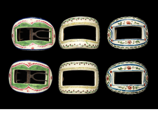 Three pairs of creamware shoe buckles, circa 1780