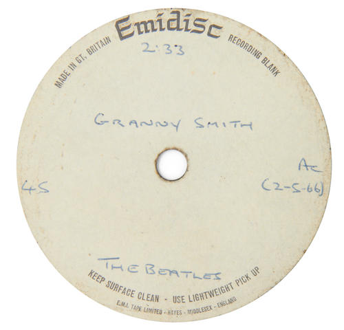George Harrison / The Beatles: An acetate recording of 'Granny Smith' by the Beatles,