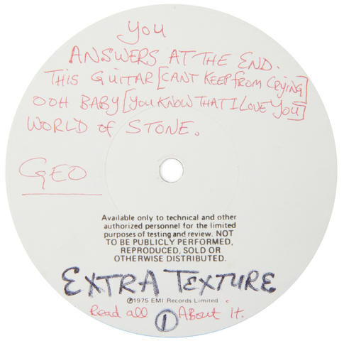 George Harrison: A test pressing of the album 'Extra Texture', inscribed by George Harrison, 1975, 2