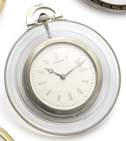 Lacloche Frères, London. A platinum and rock crystal manual wind open face pocket watch Circa 1925