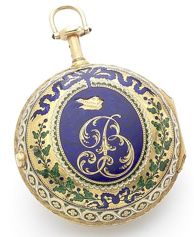 Thomas Grignion. A fine 18th century key wind quarter repeating enamel decorated pocket watch Circa 1760