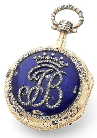 Swiss. A fine gold, enamel and diamond set key wound quarter repeating pocket watch Circa 1790