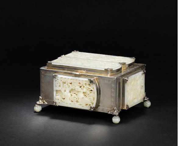 An edward Farmer silver-mounted box with inlaid jade plaques Ming dynasty