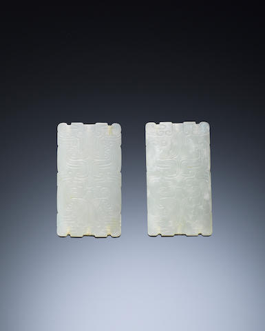 A pair of rectangular white jade 'archaistic' plaques Western Zhou dynasty