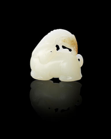 A fine white jade 'eagle and bear' group Mid Qing dynasty
