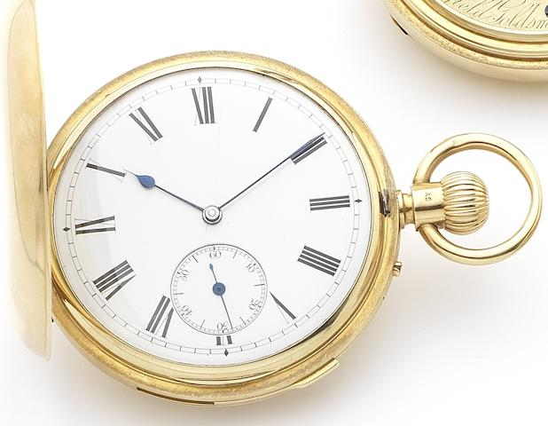 Reid & Sons. An 18ct gold keyless wind minute repeating full hunter pocket watchNumbered 16046, London Hallmark for 1864