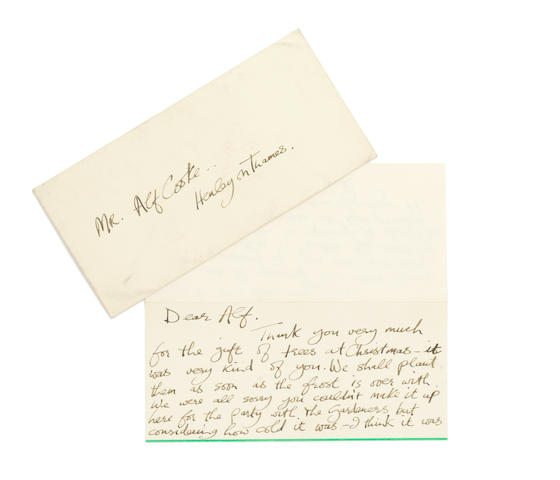 George Harrison: A letter from George Harrison to a gardener at Friar Park,