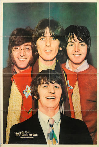 A 1968 Beatles Fan Club poster of the Beatles autographed by George Harrison,
