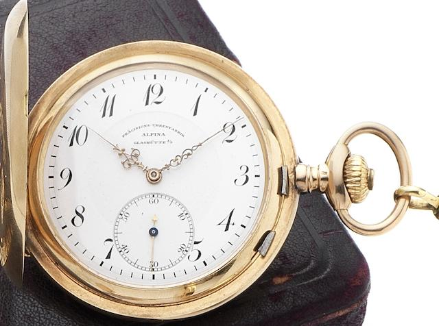 Alpina, Glashutte. A 14ct gold full hunter pocket watch together with fitted Alpina boxCirca 1890