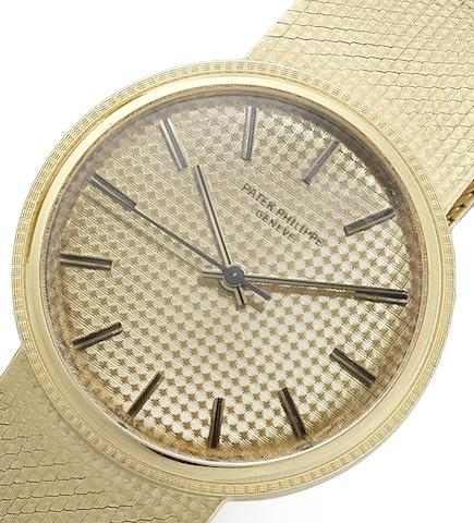 Patek Philippe. A fine 18ct gold automatic bracelet watch Ref:3563/3, Case No.2684704, Movement No.1181254, Manufactured in 1970, Sold 25th March 1971