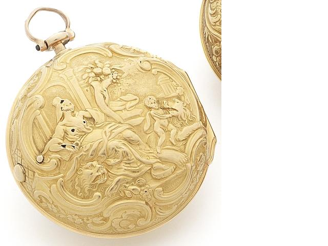 John Garth. A fine late 18th century 22ct gold repoussé pair case pocket watch Numbered 365, Circa 1760