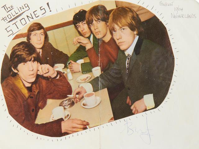 The Rolling Stones: a Brian Jones autograph, 1964,