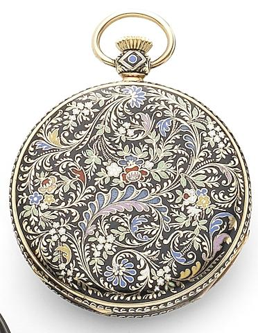 Vacheron Constantin. A fine 18ct gold open face pocket watch within enamel case by Gounouilhou & FrancoisMovement No.330790, Circa 1913